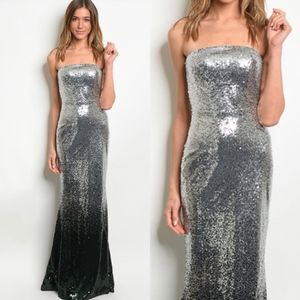 Dresses & Skirts - Silver Hunter Green Sequin Prom Gown Dress S M L